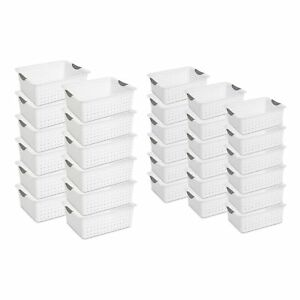 Sterilite Large Ultra Storage Bin Basket White 12 Pack Medium Bin 18 Pack