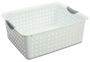 Sterilite Large Ultra Plastic Storage Bin Organizer Basket White 48 Pack
