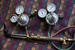 Vintage Harris Cutting Welding Set Torch Tip 85 Gauges 25 15 100 Tip 85 72 2 Set