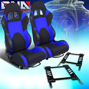 Woven Fabric Fully Reclinable Racing Seat W Bracket Fit 00 05 Mitsubishi Eclipse