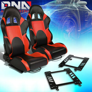 Pair Woven Fabric Fully Reclinable Racing Seat bracket Fit 99 04 Ford Mustang