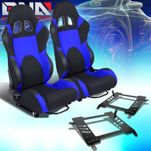 2x Woven Fabric Fully Reclinable Racing Seat W Brackets Fit 00 05 Toyota Celica