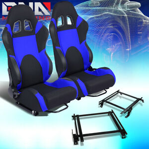 2x Woven Fabric Fully Reclinable Racing Seat W Brackets Fit 90 93 Acura Integra