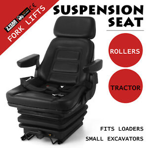 New Suspension Seat Tractor Forklift Excavator Low Profile 110 287lbs Industrial