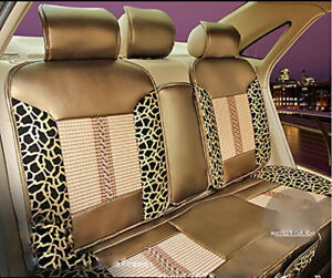 6 Pcs Car Seat Auto Cover Leopard Print Pu Leather Gold For 5 Seats Car Full Set