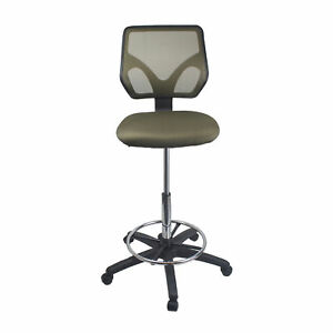 Cool Living Mesh Armless Fixed Upright Adjustable Height Drafting Chair Gray