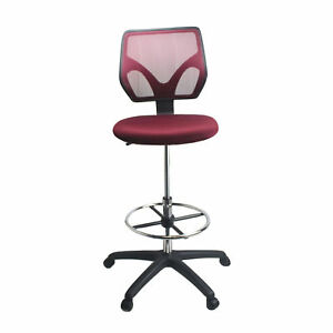 Cool Living Mesh Armless Fixed Upright Adjustable Height Drafting Chair Red