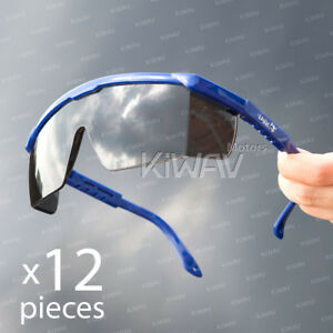 Safety Glasses Smoke Lens Blue Frame Top Side Shield Protection 12 Pairs