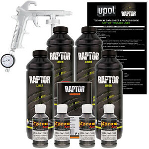 Raptor Charcoal Metallic Urethane Spray On Truck Bed Liner Spray Gun 4 Liters