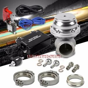 Black Dual Stage Electronic Turbo Boost Control silver 44mm External Wastegate