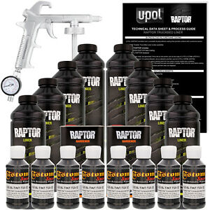 Raptor Black Metallic Urethane Spray on Truck Bed Liner Spray Gun 8 Liters