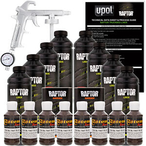 Raptor Dakota Brown Urethane Spray On Truck Bed Liner Spray Gun 8 Liters
