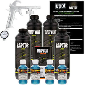 Raptor Blue Metallic Urethane Spray On Truck Bed Liner Spray Gun 4 Liters