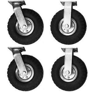 4 Pcs 10 Air Tire Pneumatic Zinc Plated Wheels 2 Swivel Casters Cart Portable