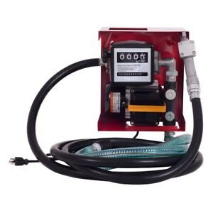 Pro 110v Electric Diesel Oil Pump With Mechanical Meter 13 Hose And Nozzle Us