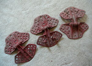 Three Antique Butterfly Style Cast Iron Barn Hay Mow Door Hinges Old Red Paint