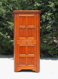 19th Country Primitive Solid Pine Blind Door Corner Cupboard Square Nails