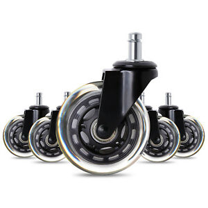 2 5 3 office Chair Caster Wheels Swivel Rubber Duty Wood Floor Home Replacement