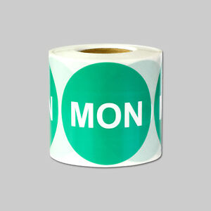 Monday Days Of The Week Stickers Date Calendar Schedule Labels 2 Round Green