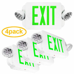 4x Led Green Exit Sign Emergency Light High Output Compact Combo Ul924 Us