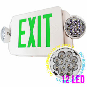 Led Green Exit Sign Emergency Light compact Combo Ul Exit Sign Emergency