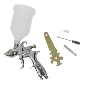 Paint Spray Gun Hvlp Polished Aluminum Gravity Feed 2 0 Mm Nozzle 600 Ml Cup