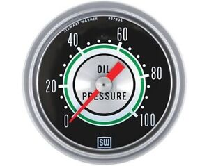 Stewart Warner Green Line Mechanical Oil Pressure Gauge 2 5 8 Dia Black Face
