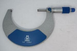 New Moore Wright 3 4 Micrometer 0001 Grad Carbide Faces C w Standard