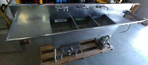 Commercial Stainless Steel 3 Three Wash Bay Compartment Sink Bowl 4 W Disposal