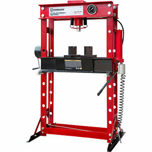 Strongway Air Hydraulic Shop Press With Gauge And Winch 45 Ton Capacity