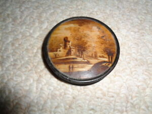 1900 Wooden Painted Needle Pin Box Country Scene Trees Castle Lake People Silk