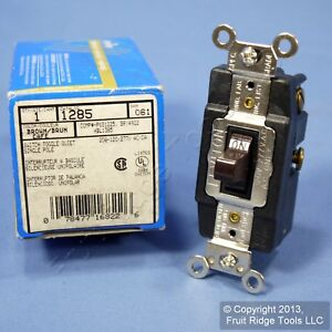 Leviton Brown Spdt Double Throw Maintained Contact Toggle Switch 20a 1285 Boxed
