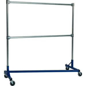 Z rack Laundry Room Clothes Rack 60 L X 72 Uprights Double Rail Blue 260722