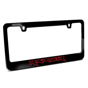 Ford Raptor Outline In Red Black Metal License Plate Frame