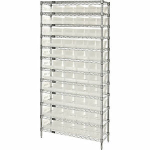 Quantum Wire Shelving Sys W 55 Clear Bins 12 shelf Unit 36inwx18indx74inh