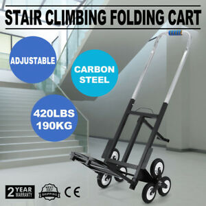 Stair Climbing Folding Cart Six Wheels Carbon Steel Adjustable Convenient Carry