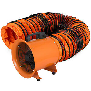 12 Extractor Fan Blower Portable 10m Duct Hose High Rotation Rubber Feet