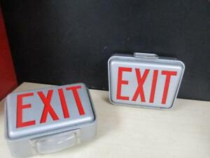 Vtg Lighted Exit Signs Metal Surround Union Made Underwriters Laboratories Inc