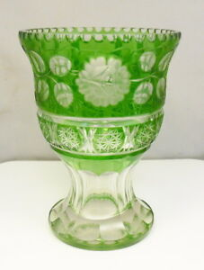 Antique Bohemian 7 5 Green Cut To Clear Cased Glass Urn Vase Free Shipping