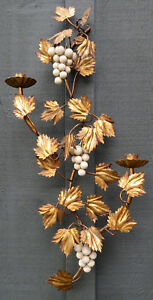 Vintage Italian Tole Metal Candle Holders Wall Sconce Leaves Grapes