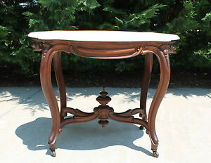 Large Victorian Turtle Shaped Marble Top Walnut Center Parlor Table C1870 S