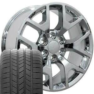 20x9 Chrome Sierra 1500 Style Wheels Tires Set Of 4 Rims Fit Gmc Chevrolet Oew