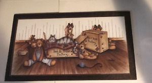 Ted E Bear Factory Teddy Bears Cat Country Kitchen Wall Art Decor Wood Sign 7x13