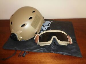 Emerson Tan Tactical Paintball Airsoft Helmet with Goggles