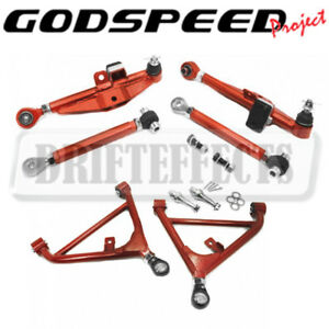 For 89 94 240sx S13 Godspeed Front rear Lower Control Arm W High Angle Tension
