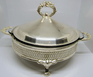 Round Glass Casserole Buffet Style Silverplate Serving Dish W Lid Raise Footed