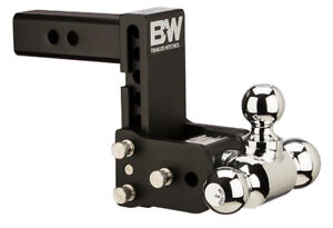 Bw Black Tow Stow Tri ball Hitch Receiver 1 7 8 2 5 16 2 Ts10048b Adjustable