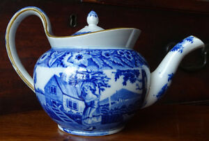 Antique Blue Transferware Teapot Ca 1830 S Girl With Firewood English Pottery
