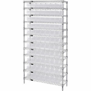 Quantum Wire Shelving Sys W 77 Clear Bins 12 shelf Unit 36inwx12indx74inh
