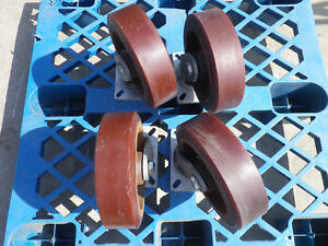 Set Of Four Albion 400 Shockmaster 10 X 3 Caster Wheels With Swivel Base